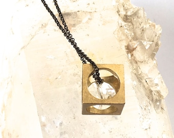 CUBE Pendant with faceted crystal bead- Fun and Geometric!