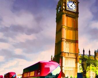 London art, London painting, UK, Great Britain, central London, European street scene, downtown London, London street scene, United Kin