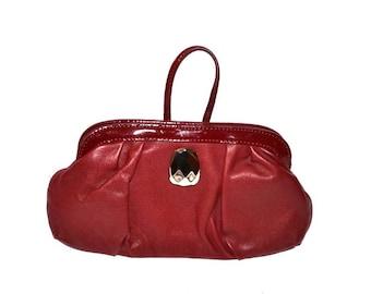 Vintage  burgundy wristlet Anne Klein AK small purse evening bag wallet make up designer bag genuine leather purse NOS