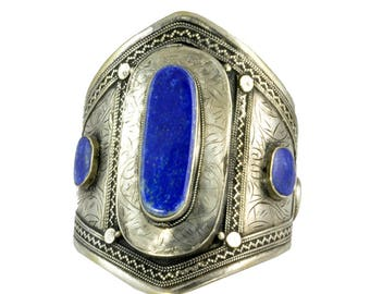 Big Wide Lapis Afghan Kuchi Bracelet Jewelry Boho Cuff Ethnic Bohemian Vintage Tribal