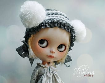 Blythe Helmet SWEET BEAR Grey By Odd Princess Atelier, Hand Knitted Collection