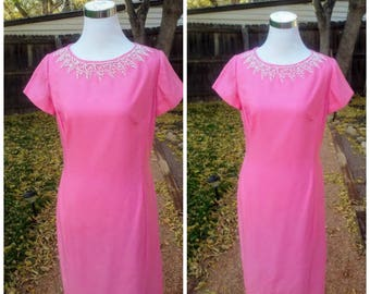 Vintage1960s 60s Pink Dress Frock Sheath Beaded Wiggle Cocktail Dress HENRY LEE XS to Small