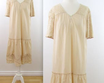 April Cornell Embroidered Summer Dress - Vintage 1980s Beige Cotton Farmhouse Dress in Large xLarge