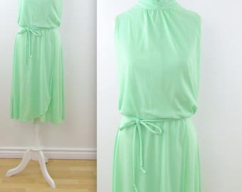 Mint Julep Sleeveless Dress - Vintage 1980s Faux Wrap Day Dress in Medium