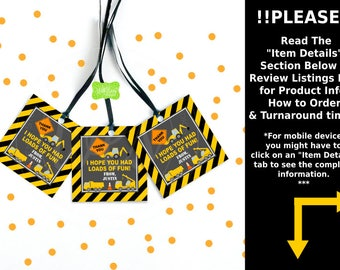Construction Favor Tags - Construction Favor Stickers - Truck Favor Tags - Construction Gift Tags - Digital or Printed Tags Available