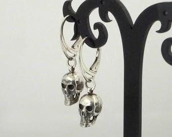 Skull Drop Earrings in Silver