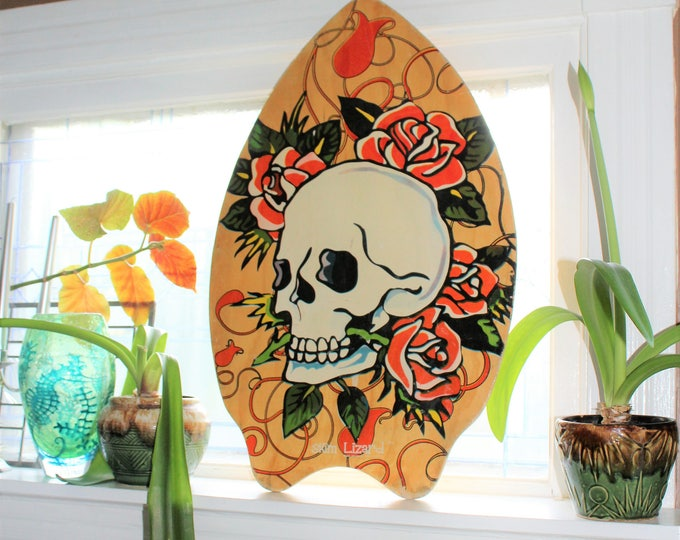 Skim Lizard Surf Board Skull and Roses Ed Hardy Style 2007 Wall Decor