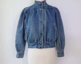 80's Bomber Jean Jacket Light Stonewashed Denim Coat Cropped Snap Button Puff Sleeve Resolute Bay XS S