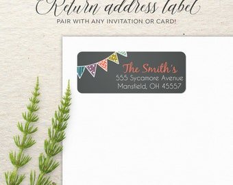 Return Address Labels | Address Sticker | Envelope Seal | Custom Address Label | Personalized Packaging Sticker | Chalkboard Pennant