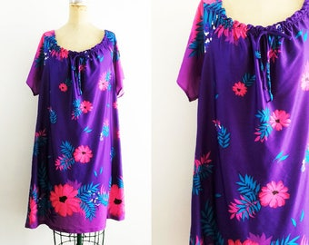 Vintage Purple Muumuu Dress Floral Muumuu Purple Mumu Floral Mumu Purple Floral Dress Purple Moomoo Floral Moomoo Hawaiian Large XL XXL Plus
