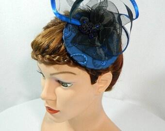 Fascinator dark blue Gothic Steampunk Lolita Headpiece Headdress Bibi Chapeau clubbing Damenhut Anlasshut Hut