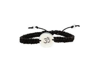 Ohm Bracelet, Yoga Bracelet, Hemp Bracelet, Om Bracelet, Namaste Bracelet, Handstamped Bracelet