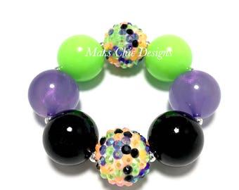 Toddler or Girls Halloween Chunky Bracelet - Orange, Purple, Green and Black Chunky Bracelet - Girls Zombie Bracelet - Green Witch bracelet