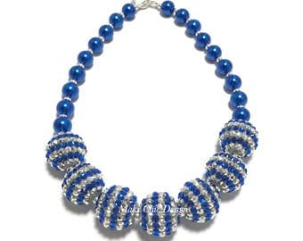 Toddler or Girls Royal Blue and Silver Chunky Necklace - Bling and Pearl Chunky Necklace - Blue Necklace - Sparkle Necklace - Hanukkah