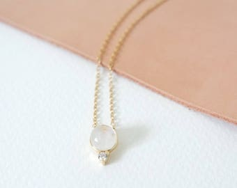 Orb - Moonstone Necklace, Bridesmaids Gift, Gifts for Her