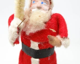 Vintage 1940's 4 Inch Santa With Hand Painted Clay Face, Christmas Ornament, Faux Feather Tree, Occupied Japan