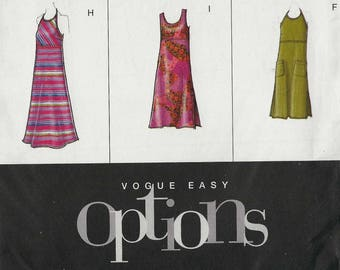 Vogue 2524 Dress empire waist with halter scoop round neckline and sleeve options in four lengths Size 12-14-16 (uncut) sewing pattern
