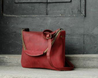 Handmade Leather Clutch Small Purse Handbag Shoulderbag