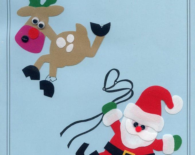 Christmas Appliqué / Santa /  Reindeer  / Press & Sew Appliqué  / Appliqué  / Easy Christmas Outfit / Runaway Reindeer by Ellen McCarn