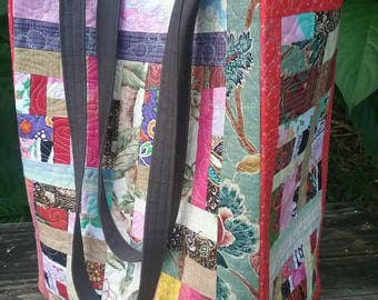 OOAK handmade quilted tote bag, funky recycled fabric scraps, free-motion quilting stitching, ecofriendly large tote bag, farmer's market