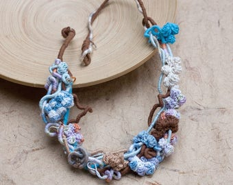 Crochet blue brown necklace, fiber statement jewelry, OOAK