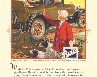 Antique Buick Auto ENGLISH SETTER Dog 1920's Advertising Poster Ad Repro Fine Art Print