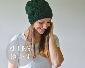 knitting pattern spring slouchy hat toque - the forester beanie