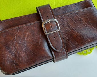 "Vintage Genuine Leather ""Rolfs"" Zippered Clutch Wallet w/ Buckle Detail- Snap Pouch Brown Rustic Boho Purse Accessory Funky Simple"