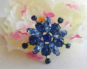 Beautiful Atomic Era Two Tone Blue Rhinestone Flower Brooch- Vintage Classic Retro Bridal Floral Pin Up Glamour Bling Pretty