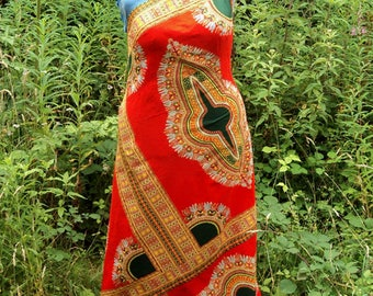 UK Size 18 Red African Wax Print Maxi Dress