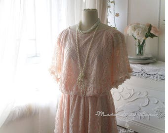 Romantic Dainty Baby Pink Lace Dress pink Batwing Sundress - french lace dress soft lace dress