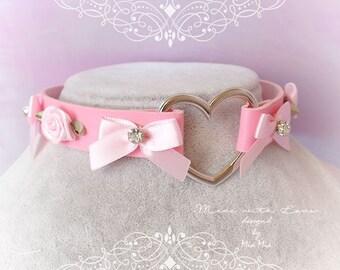 BDSM Daddys Girl Choker Necklace Pink Faux Leather Heart Rose Bow Rhinestone Kitten Play Collar pastel goth Lolita Neko Fairy Kei DDLG