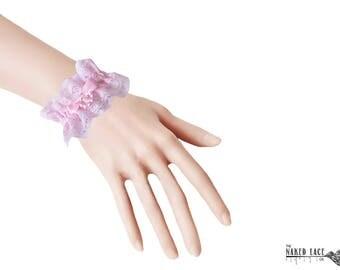 W1 Sweet Lolita Pink Bead Drop Wrist Cuffs