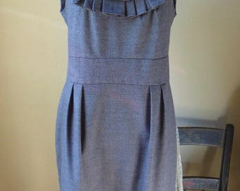 Pleated Gray Cocktail Dress, Size 10, Studio Dress, Off the Shoulder Summer Dress