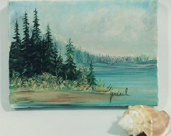 Vintage Lakeside Landscape Painting with Trees; Vintage Mountain and Lake Scene Painting, Vintage Seascape Painting
