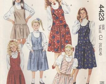 Girls 80s Jumper Pattern McCalls 4423 Sizes 10 - 14 Uncut
