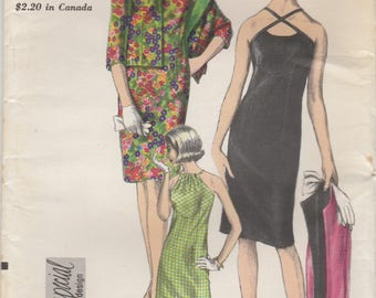 60s Evening Dress & Jacket Pattern Vogue 6787 Size 10 Uncut