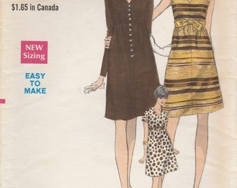 Simple 60s Dress Pattern Vogue 7264 Size 8
