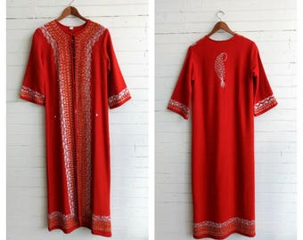 vintage bohemian red wool embroidered, coat duster, Indian wool coat, caftan kaftan,  festival coat, small