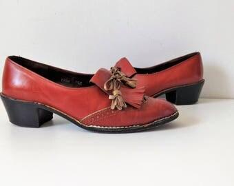 Vintage 1970s Charles Jourdan brogues, 1970s 70s leather brogues oxfords  tassel shoes, US 7 1/2, EU 38 1/2