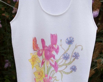 vintage summer top 1960's in white with floral design.