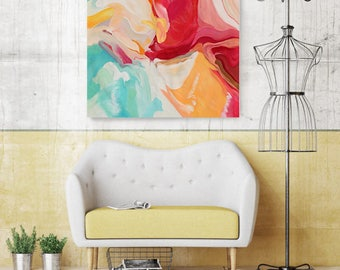 "Serenade. Original Contemporary Large Red, Yellow, Aqua Abstract Oil Painting on Canvas 40 x 40"" Not stretched"