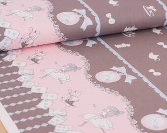 Shinzi Katoh | Japanese fabric - kawaii Usagi Alice - oxford cotton - gray - 1/2 YD