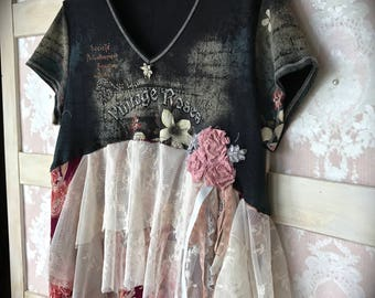 Tattered Vintage Roses Collage Top Rustic Shabby and Chic Romance Size XLarge