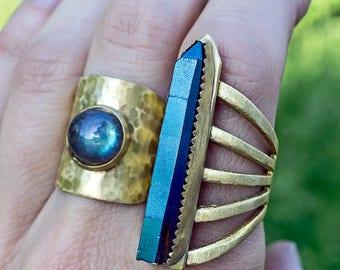 LIFT OFF TITANIUM Blue Quartz Ring