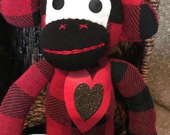 Sock Monkey (red/black plaid)