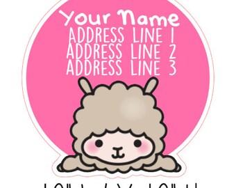 Kawaii Llama Address Labels