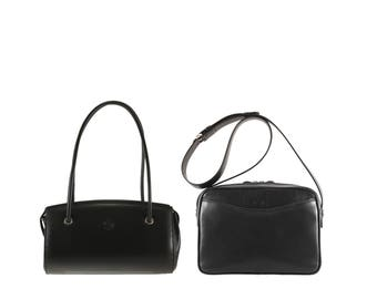 Leather shoulder bag GILA, MARA // black (Italian calf skin) - FREE shipping, unique bag
