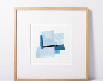 """Abstract watercolour painting (7 x 7""""), aquarelle, original abstract art, small abstract art print, watercolour art, watercolour collage"""