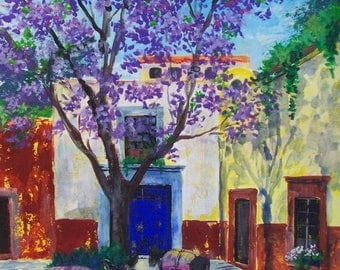 "Original painting Mexican street corner in San Miguel Allende Mexico art wall acrylic on paper  19.5""x 27.5"""
